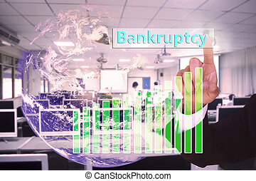 touching Bankruptcy on virtual screen vintage tone , image element furnished by NASA