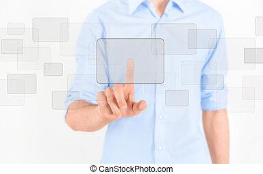 Touching blank virtual screen - Man touching blank virtual...