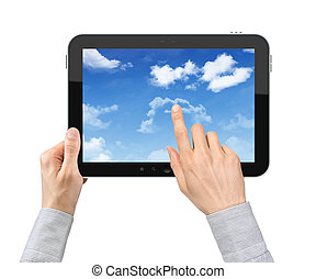 Touching Cloudscape On Tablet PC - Businessman hands are...