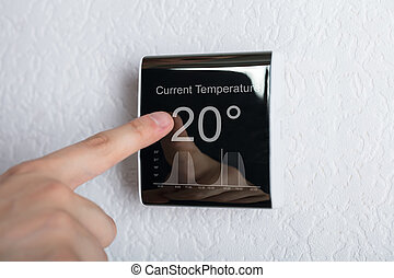 Touching Digital Thermostat - Finger Touching Digital...