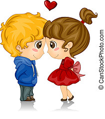 Touching Foreheads - Illustration of Kids with Foreheads...