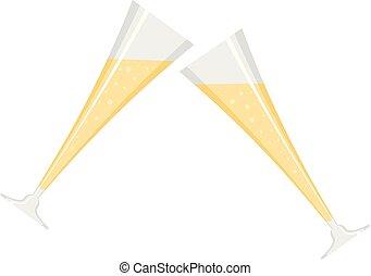 Touching glass icon, flat style