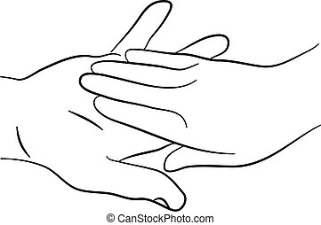 a simple line drawing of two hands touching tenderly