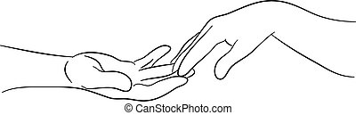 touching hands - simple line drawing of two hands reaching...