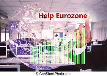 touching Help Eurozone concept   on virtual screen vintage tone , image element furnished by NASA