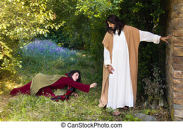 Touching Jesus robe - Repentant sinner woman touching the...