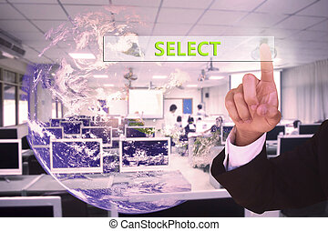 touching  select   on virtual screen vintage tone , image element furnished by NASA