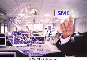 touching SME  or  small and medium-sized enterprises  on virtual screen vintage tone , image element furnished by NASA