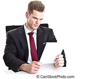 touchp, zijn, tablet, moderne, jonge, /, computer, zakenman, lezende