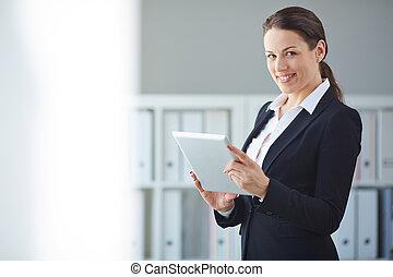 touchpad, affärskvinna
