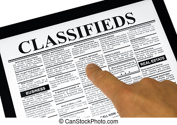 Touchpad and newspaper - Fake Classified Ad, newspaper and...