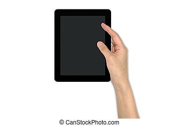 touchpad, appareil, mâle, tenant main