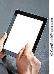 touchpad, birtok, ember