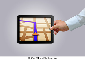 Touchpad gps - Male hand holding a touchpad gps
