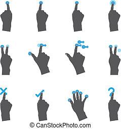 touchpad, icone, duotone, -, più