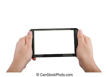 touchpad, isolerat, två, hand, tom, vit