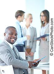 touchpad, líder, empresa / negocio