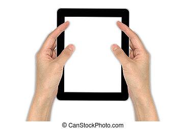 touchpad, mâle, tenant main