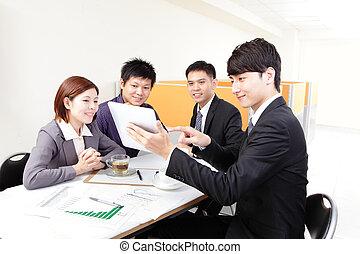 touchpad, möte, grupp, affärsfolk