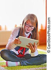 touchpad, niña, tenencia, tableta