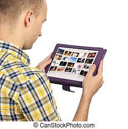 touchpad, pc, człowiek, dzierżawa, czysty
