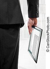 touchpad, pc, program, holdingen, affärsman, email