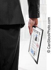 touchpad, pc, tidning, holdingen, affärsman