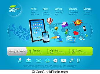 touchpad, site web, template:, promo