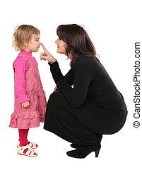 touchs, 母, 鼻, daughter\'s