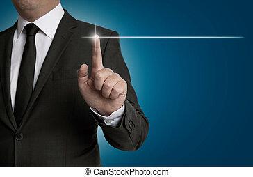 touchscreen, è, operato, vicino, uomo affari, concetto