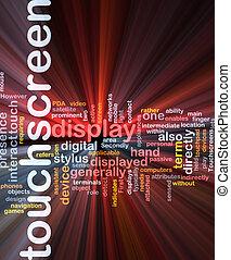 touchscreen, λέξη , σύνεφο , κουτί , πακέτο