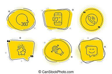 touchscreen, 中心, アイコン, set., ベクトル, 呼出し, ジェスチャー, 程度, 360