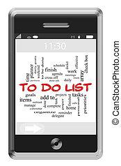 touchscreen, 概念, 単語, リスト, 電話, 雲