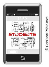 touchscreen, 概念, 単語, 生徒, 電話, 雲