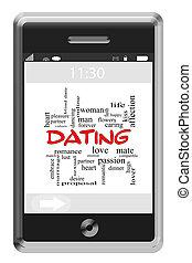 touchscreen, 概念, 単語, 電話, デートする, 雲