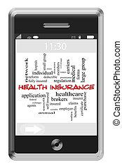 touchscreen, 概念, 単語, 電話, 健康保険, 雲