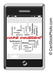 touchscreen, 概念, 単語, 電話, 所有権, 家, 雲