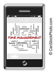 touchscreen, 概念, 単語, 電話, 管理, 時間, 雲