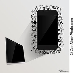 touchscreen, 장치, 와..., 컴퓨터, 전시, 와, 신청, icon., 벡터, illustration.