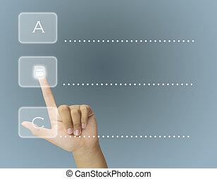 touchscreen, abc, fazer, mão, escolher, human, botão