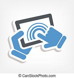 touchscreen, aktiv, ikone