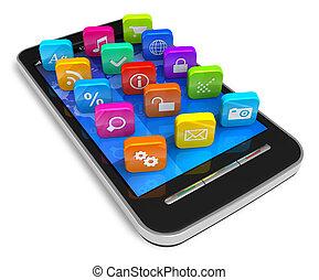 touchscreen, ansökan, ikonen, smartphone