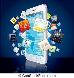 touchscreen, ao redor, ícones, imagem, vetorial, smartphone., nuvem