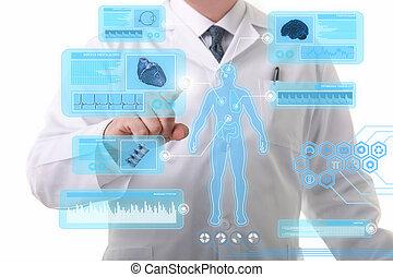 touchscreen, arbeitende , doktor, mann, textanzeige,...