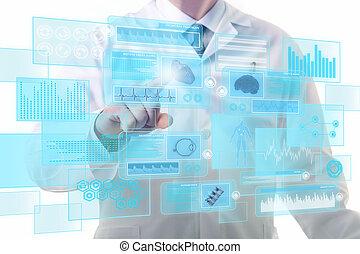 touchscreen, arbeitende , doktor, mann, textanzeige, zukunftsidee