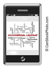 touchscreen, begrepp, ord, lånande, kommersiell, ringa, moln