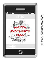 touchscreen, begrepp, ord, mor, ringa, dag, moln, lycklig