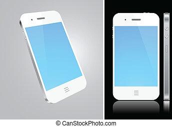 touchscreen, blanco, smartphone, concept.