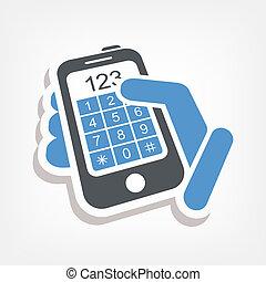touchscreen, bouton, nombres