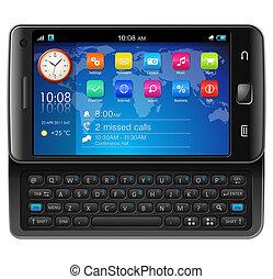touchscreen, bovenkant, glijder, smartphone